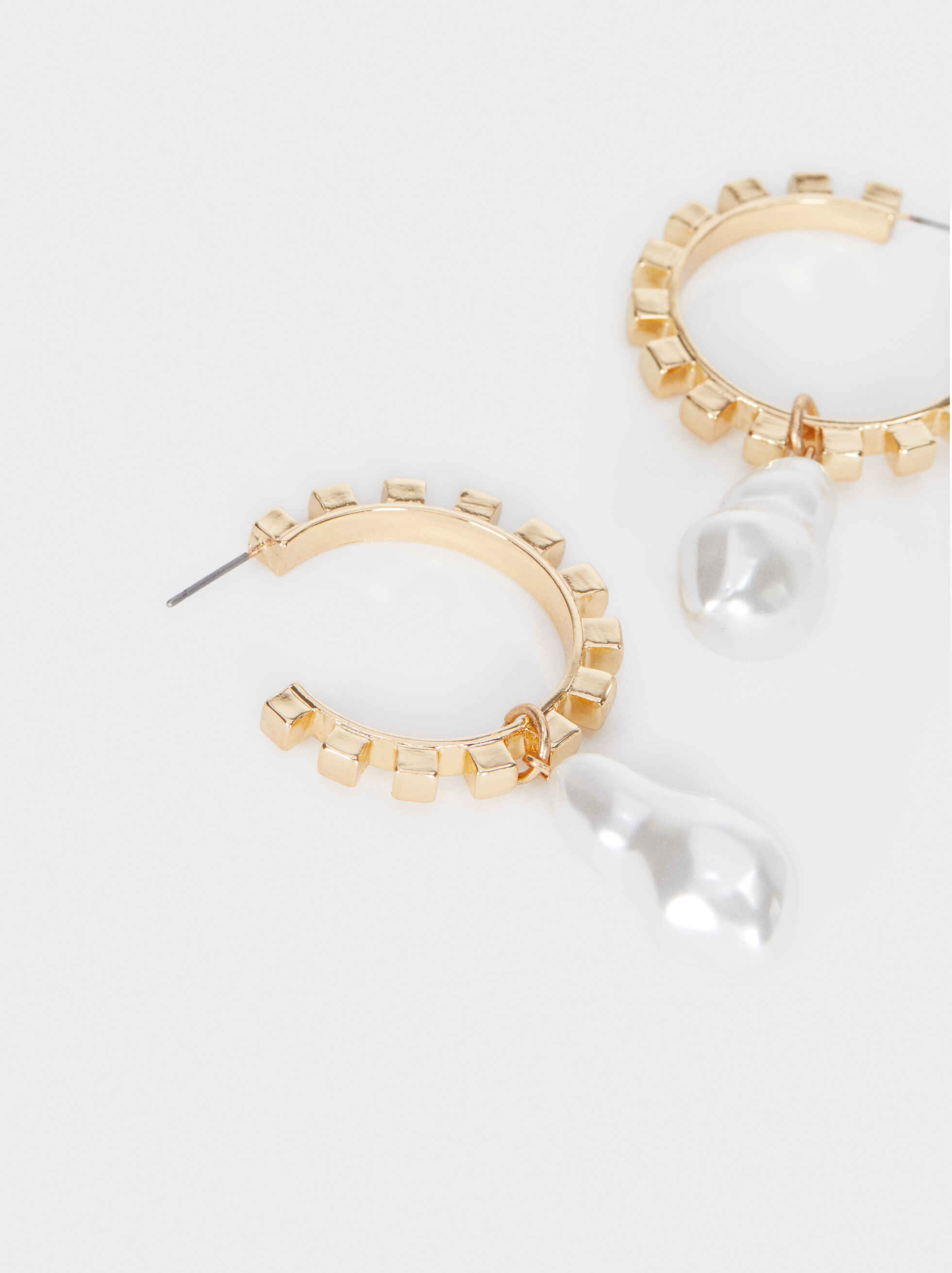 Large Gold Earrings With Faux Pearl Detail, Golden, hi-res