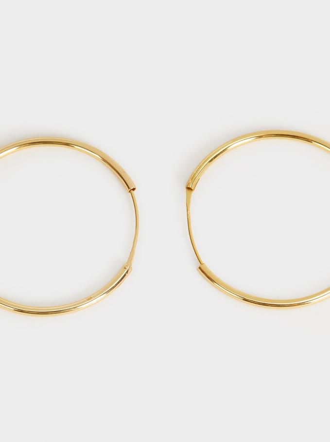 Small 925 Silver Hoop Earrings, Golden, hi-res