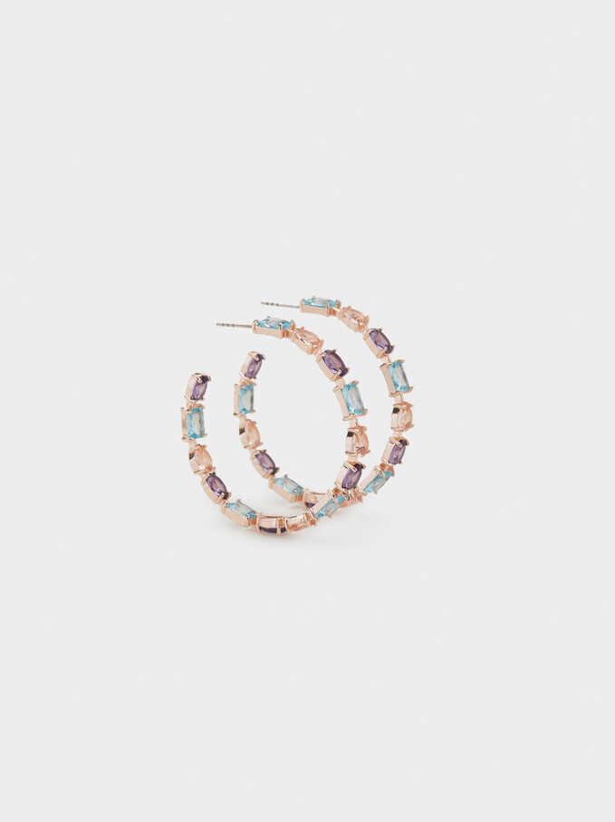 Sparkling Large Hoop Earrings, Multicolor, hi-res