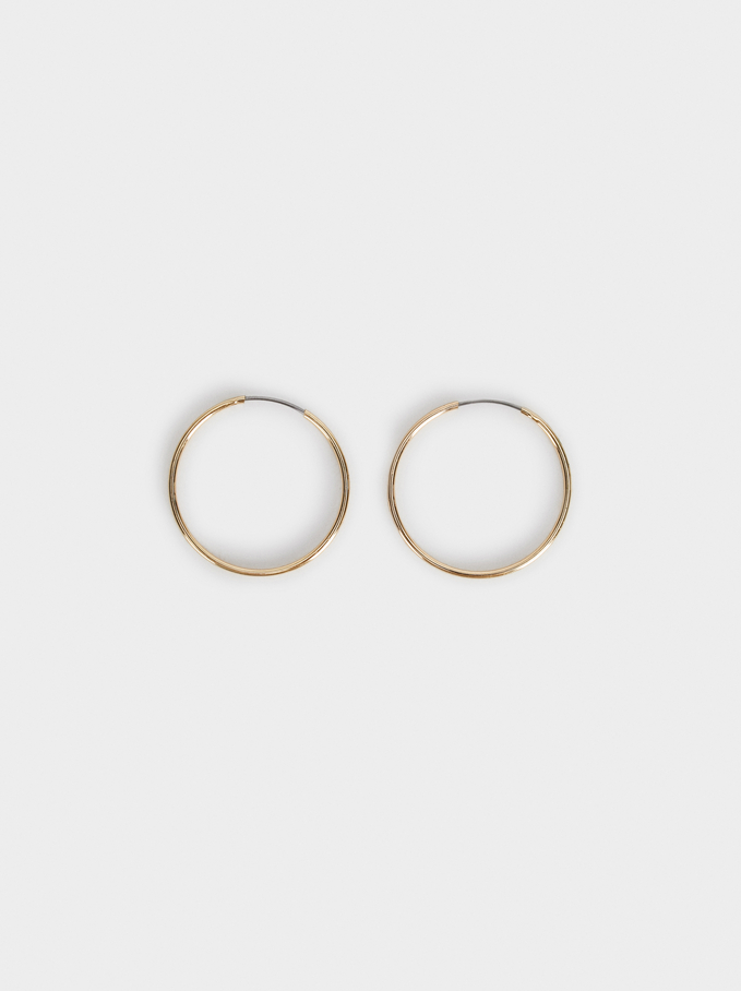 Basic Short Hoop-Earrings, Golden, hi-res
