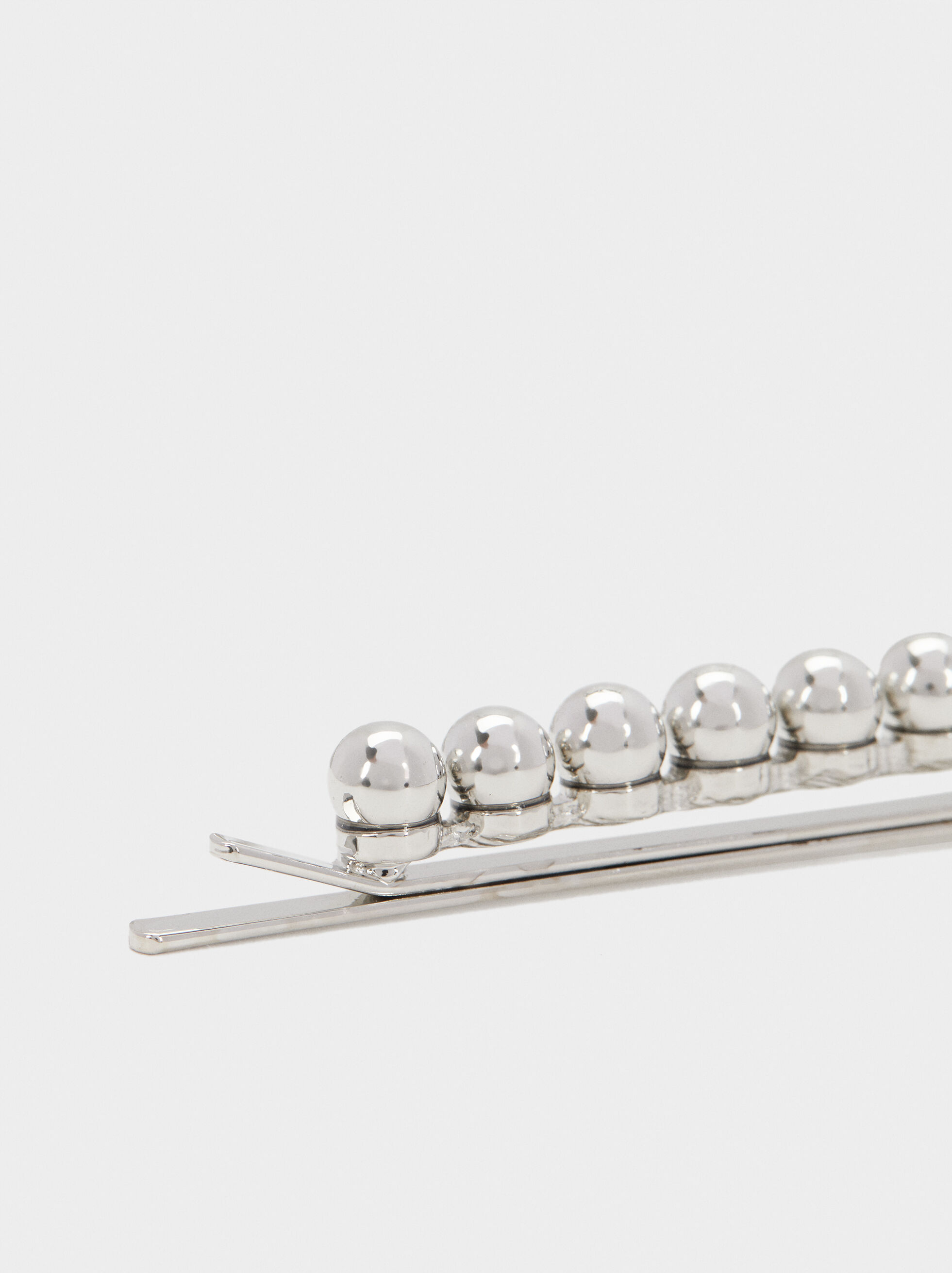 Pearl Bead Hair Slides, Silver, hi-res