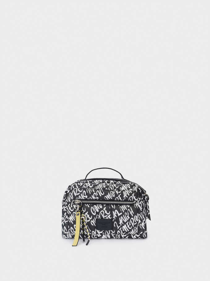 Nylon Printed Lunch Bag, Black, hi-res