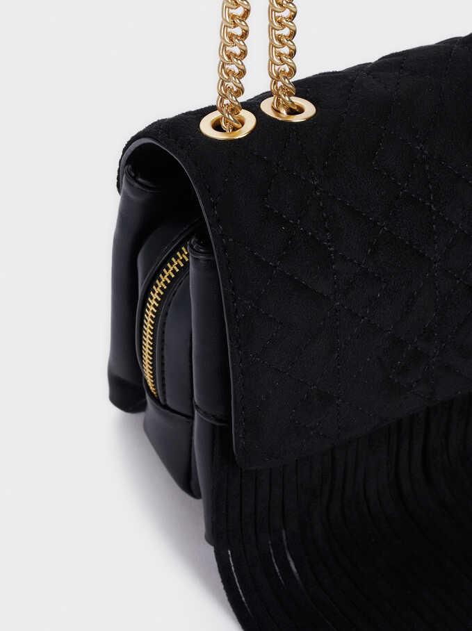 Faux Suede Crossbody Bag With Fringe Details, Black, hi-res