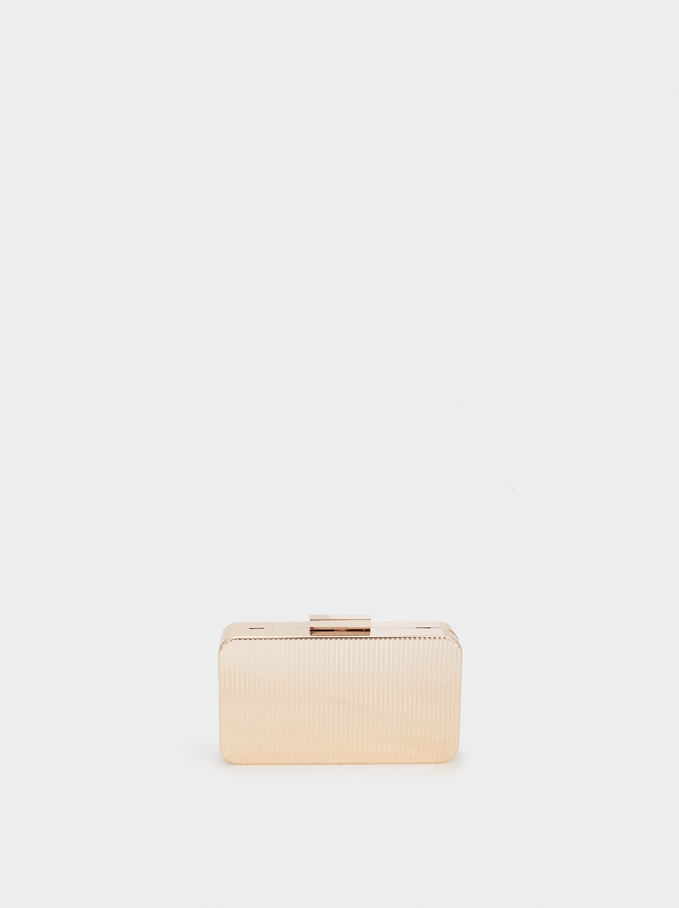 Metal Box Clutch , Golden, hi-res