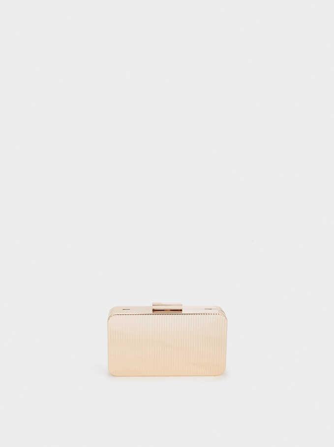 Metal Box Clutch , Golden, hi-res