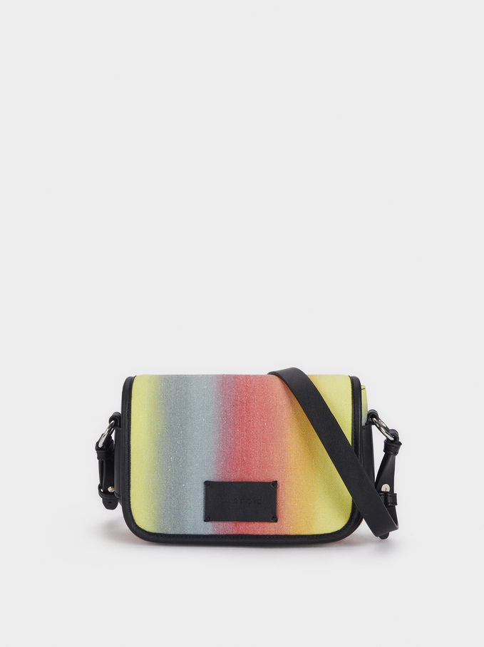 Multicoloured Crossbody Belt Bag, Yellow, hi-res