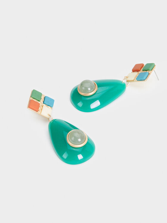 Zorba Long Stone Earrings, Multicolor, hi-res