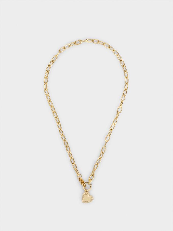 Short Steel Necklace With Heart, Golden, hi-res