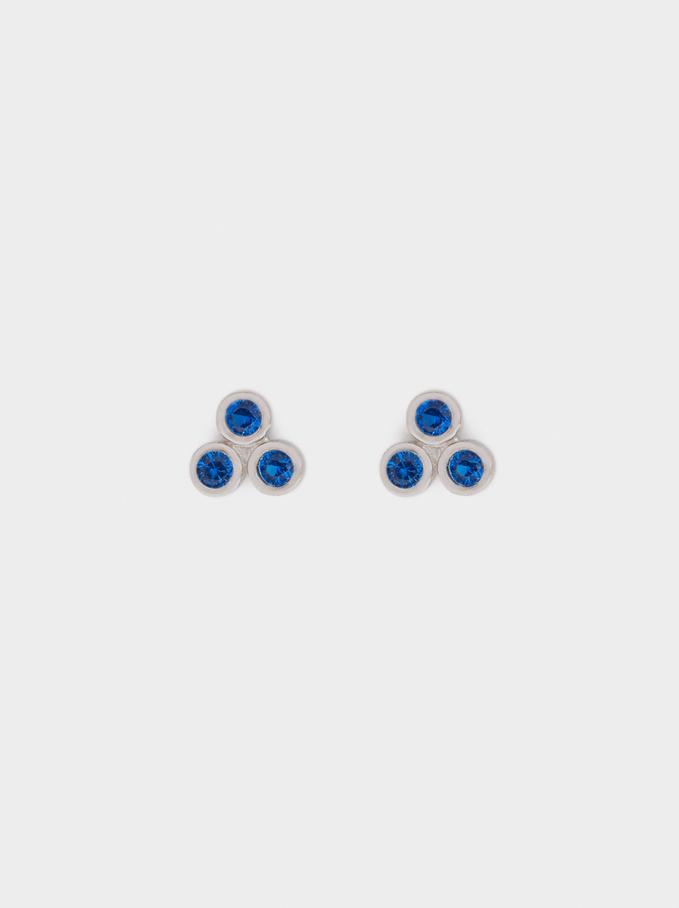 Boucles D'Oreilles Courtes En Argent 925 Avec Zircone, Bleu, hi-res