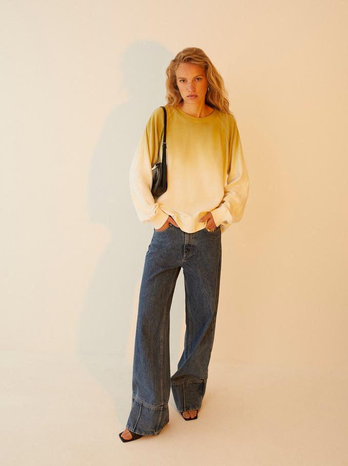 100% Cotton Sweatshirt, Ecru, hi-res