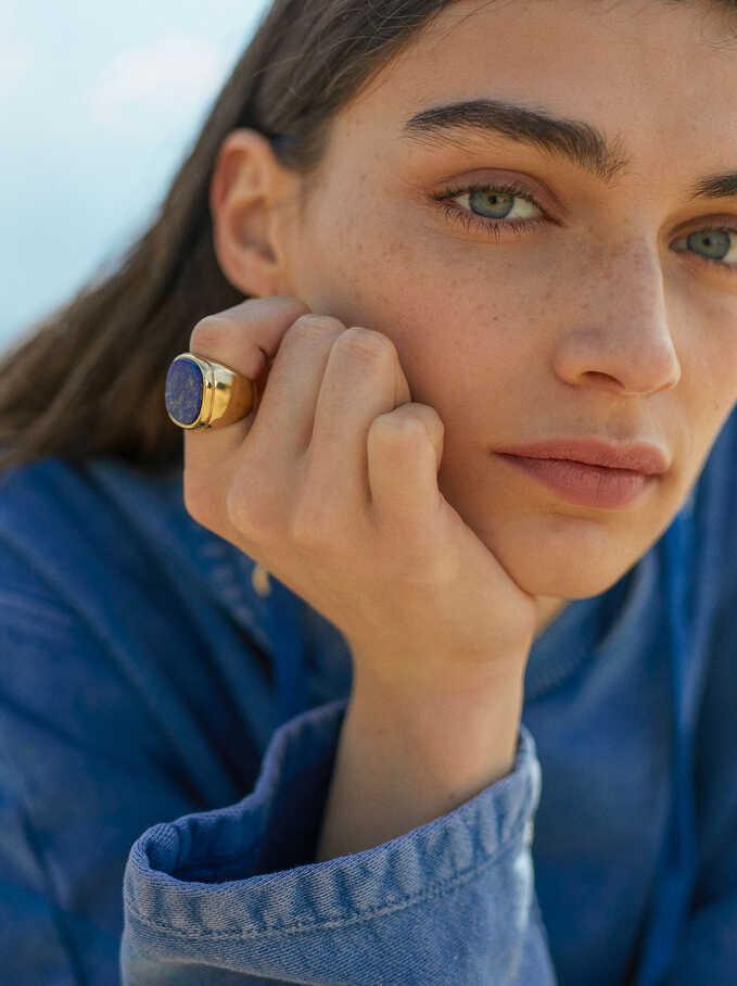 Stone Signet Ring, Blue, hi-res