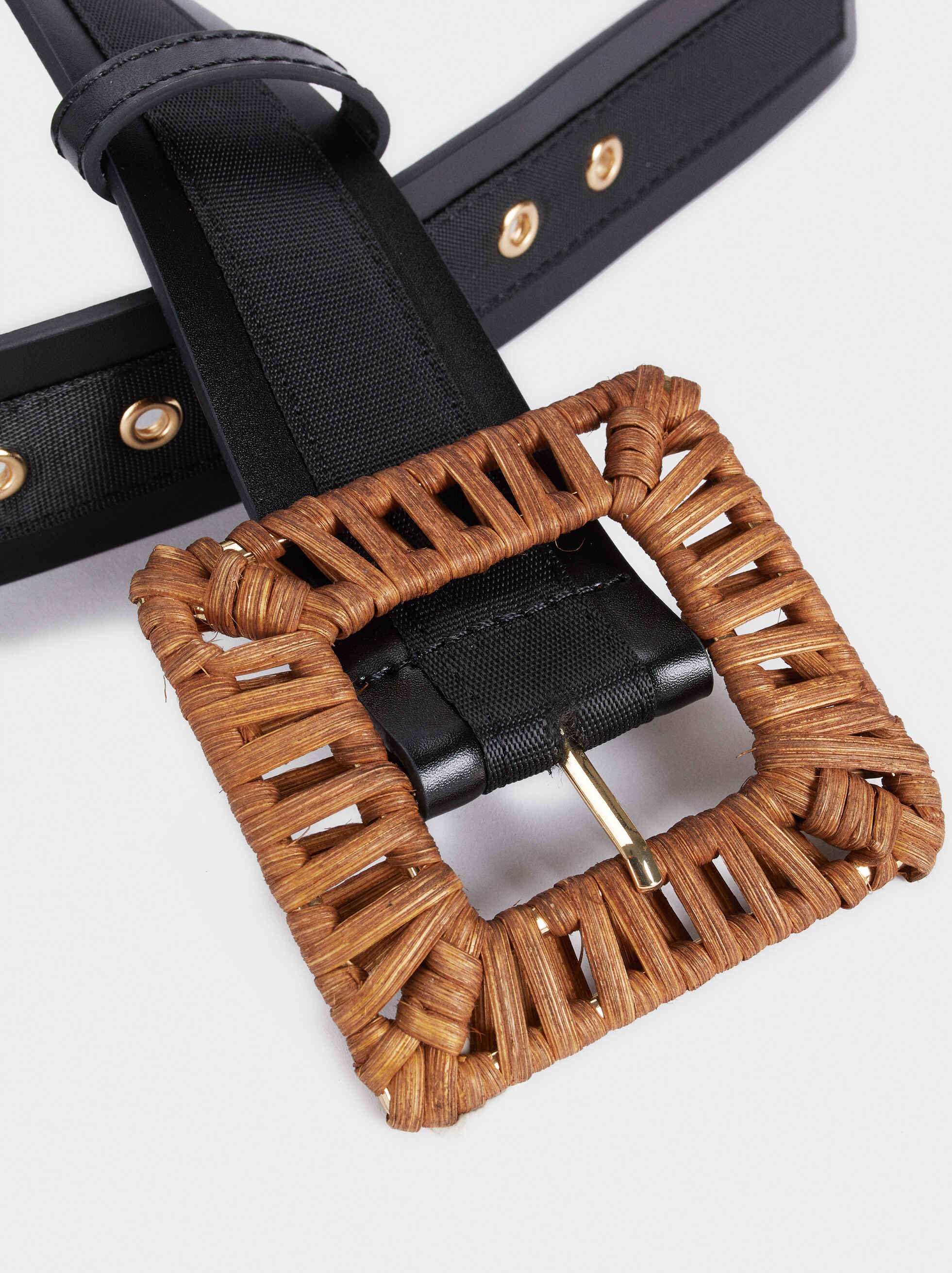 Belt With A Raffia Finish Buckle, Black, hi-res