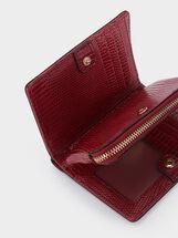 Embossed Animal Print Wallet, Red, hi-res