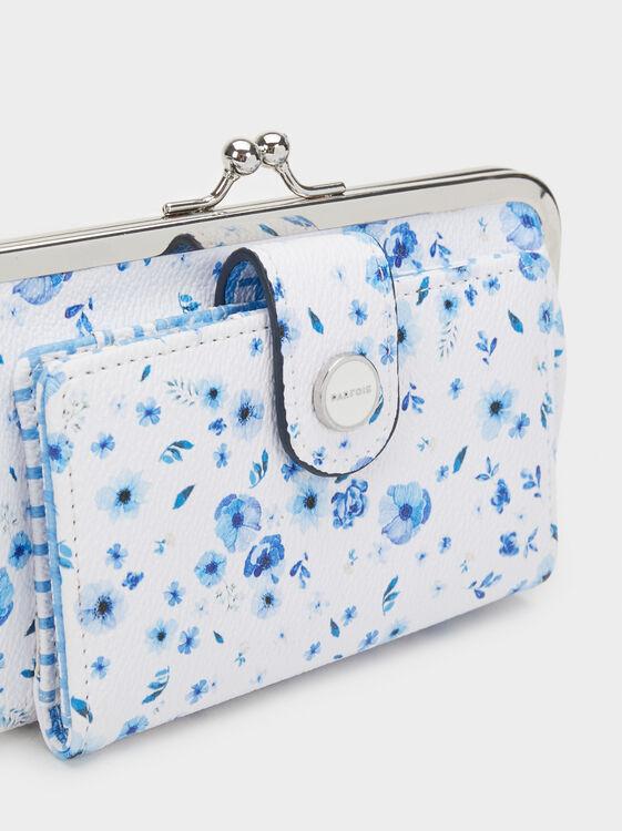 Floral Print Purse, Blue, hi-res