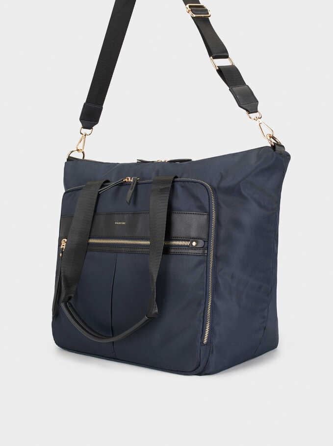 Nylon Weekend Bag, Navy, hi-res