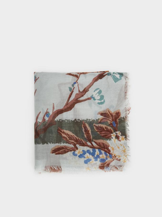 Floral Print Pocket Square, Multicolor, hi-res