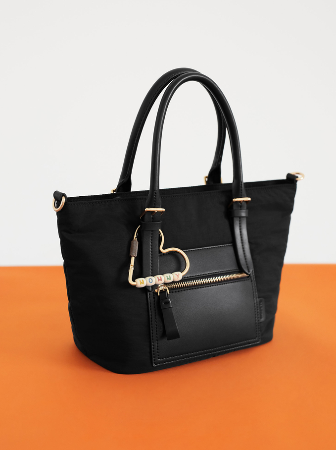 Nylon Tote Bag With Heart Detail, Black, hi-res