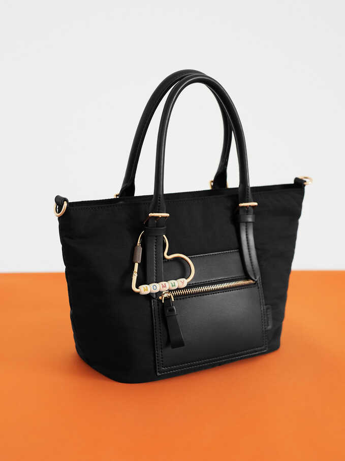 Nylon Tote Bag With Heart Detail, Black, hi-res