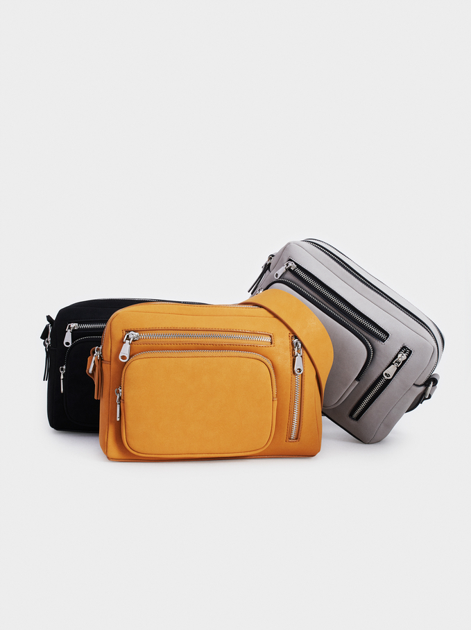 Crossbody Bag With Outer Pockets, Mustard, hi-res