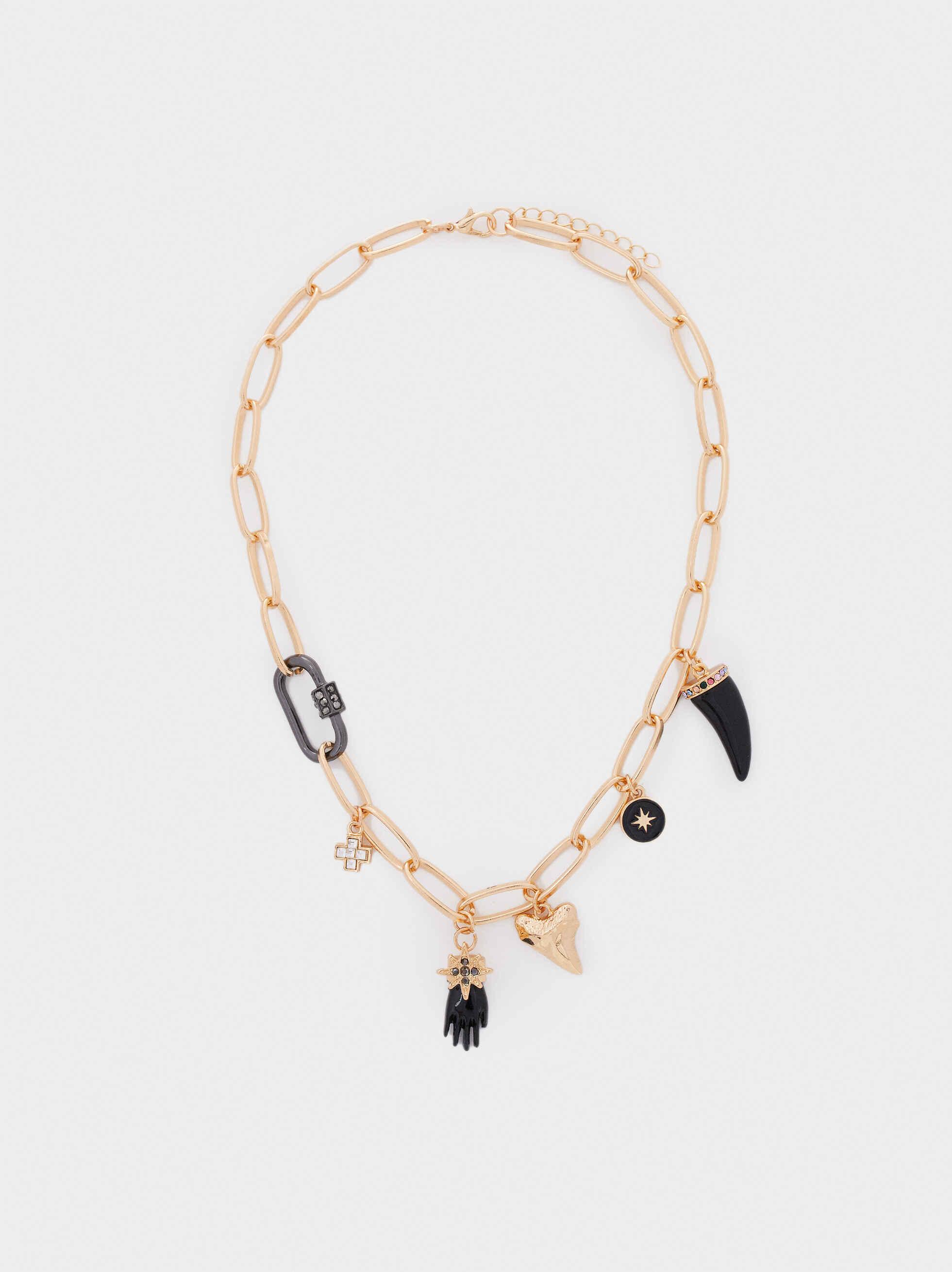 Short Chain Link Necklace, Golden, hi-res