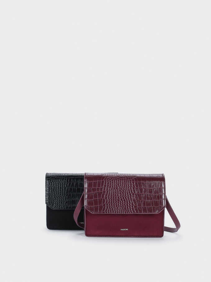 Animal Embossed Crossbody Bag, Bordeaux, hi-res