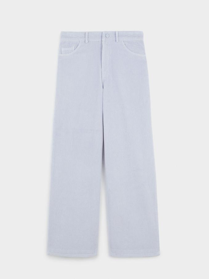 100% Cotton Straight Pants, Blue, hi-res