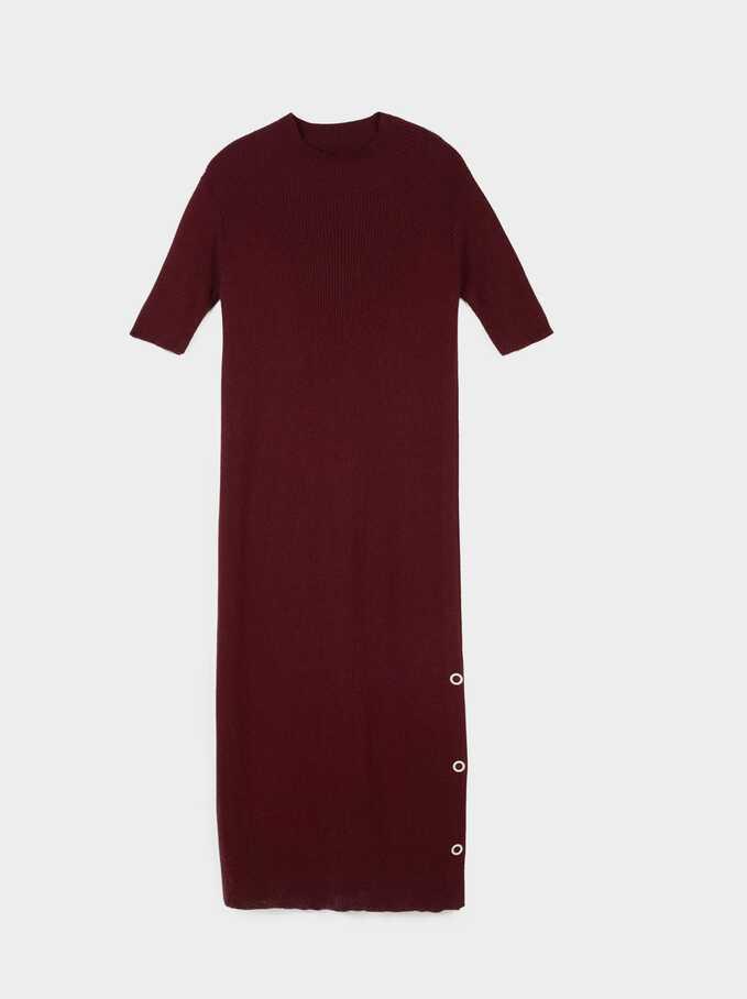 Buttons Detail Dress, Bordeaux, hi-res
