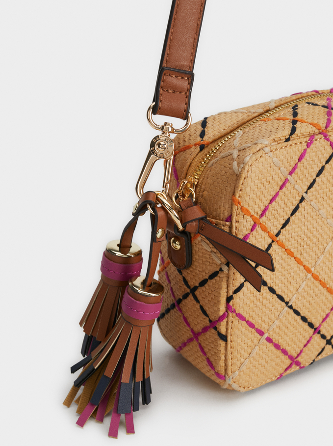 Check Faux Raffia Crossbody Bag, Beige, hi-res