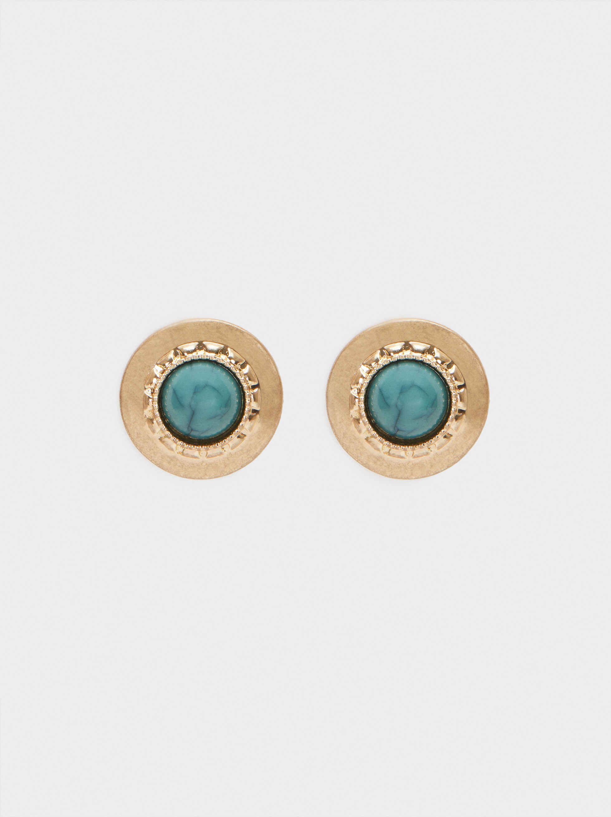 Small Gold Earrings, Green, hi-res