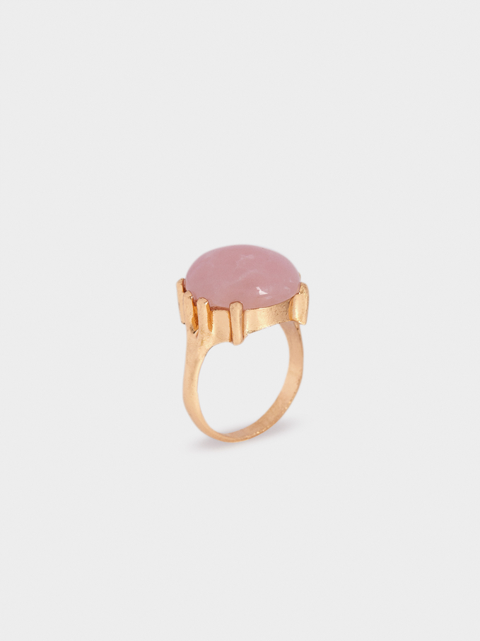 Ring With Pink Stone, Pink, hi-res