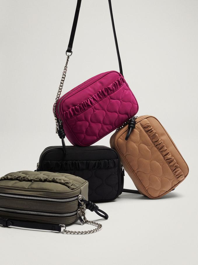 Nylon Crossbody Bag With Pleats, Camel, hi-res