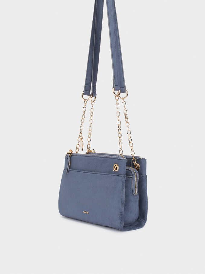Fake Suede Crossbody Bag, Blue, hi-res