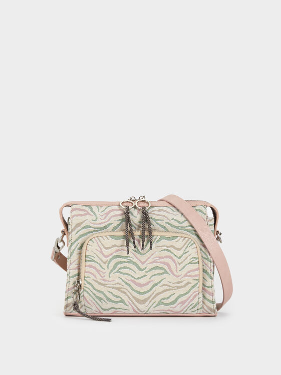 Animal Print Crossbody Bag, Pink, hi-res