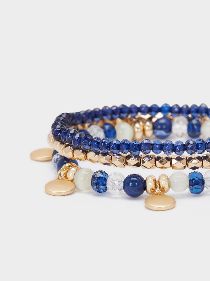 Set Of Elastic Bracelets With Beads, Multicolor, hi-res