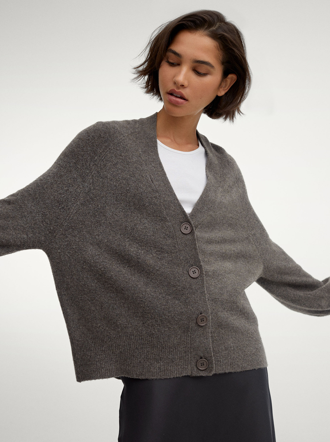 Knitted Cardigan With Buttons, Grey, hi-res