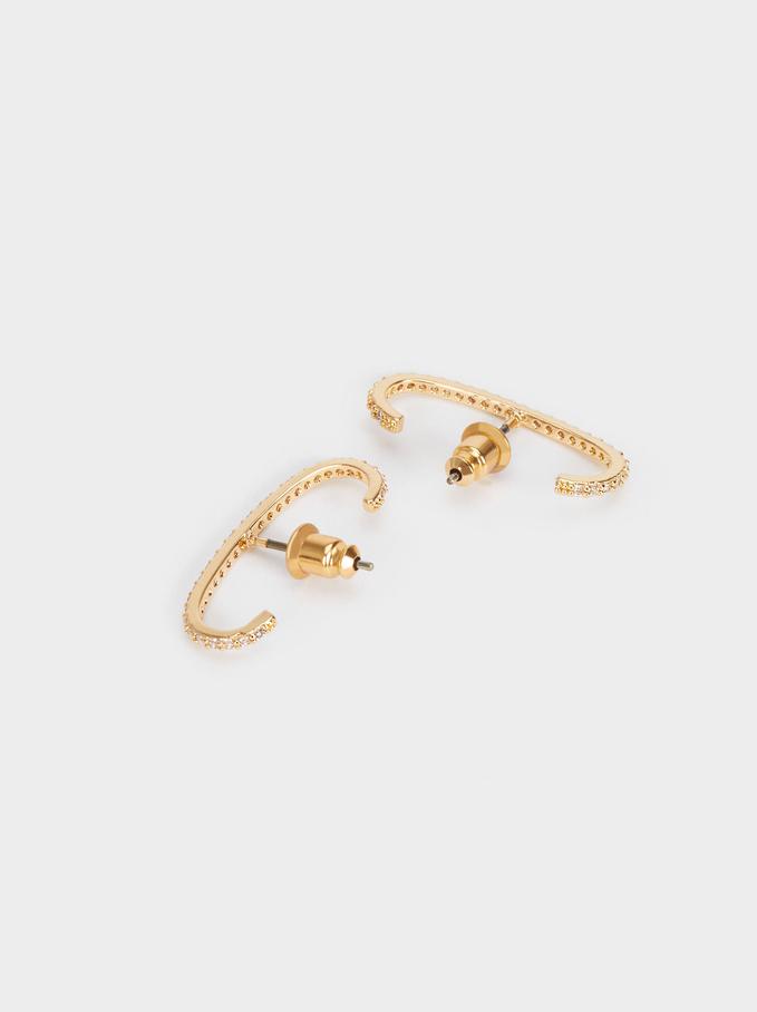 Stud Earrings With Zirconia, Golden, hi-res