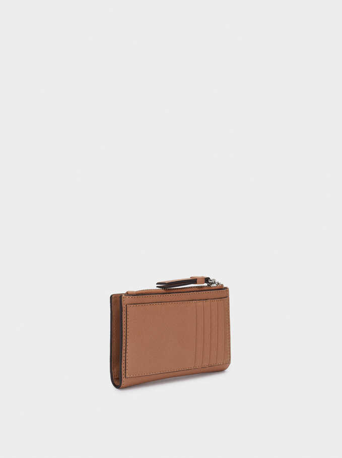 Plain Purse With Card Holder, Brown, hi-res