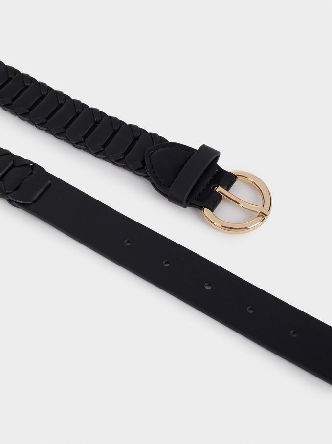 Braided Belt, Black, hi-res