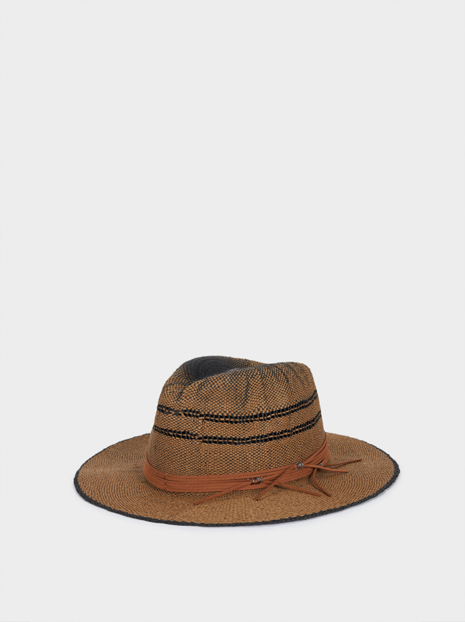 Woven Hat With Contrast Band, Brown, hi-res