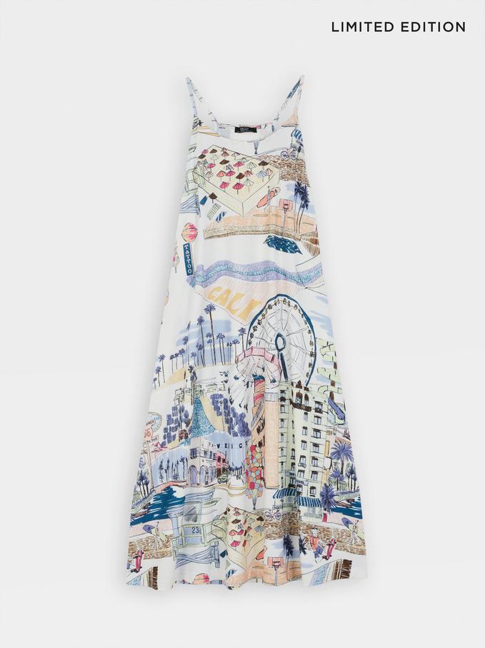 Limited Edition Round Neck Printed Dress, Ecru, hi-res