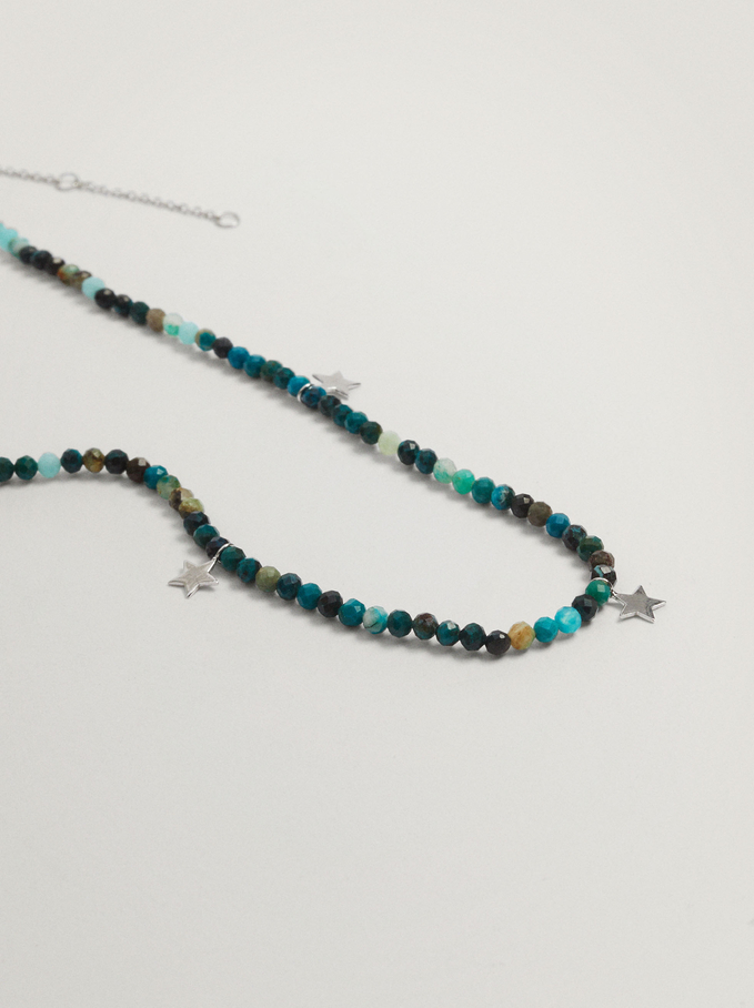 Short 925 Silver Necklace With Stones And Stars, Blue, hi-res