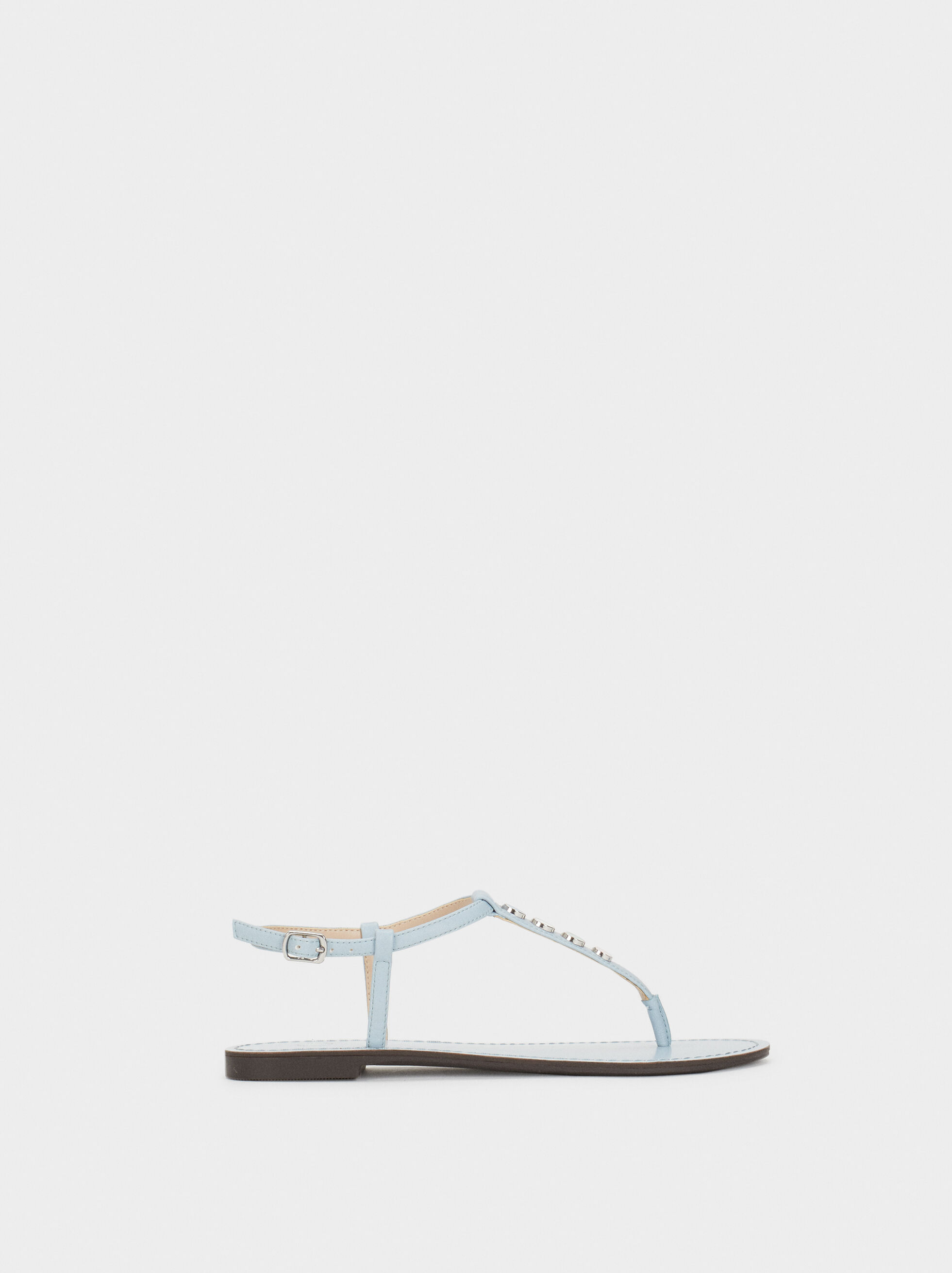 Flat Sandals With Metal Appliqués, , hi-res