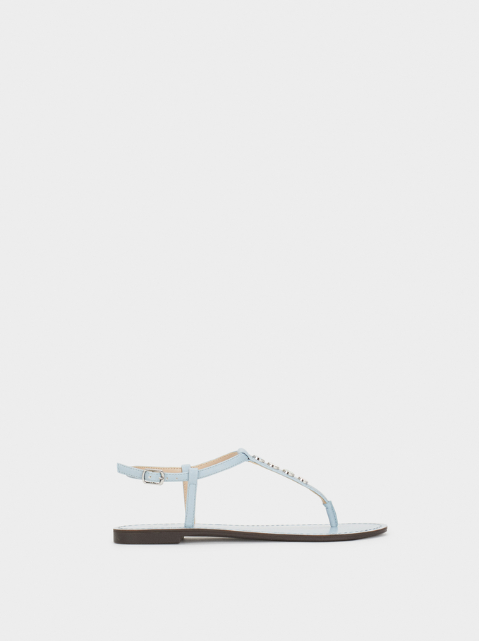Flat Sandals With Metal Appliqués, Blue, hi-res