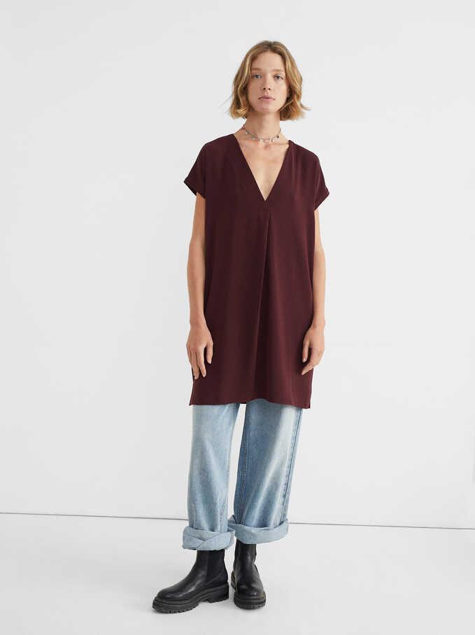 Vestido Oversize Escote Pico, Burdeos, hi-res
