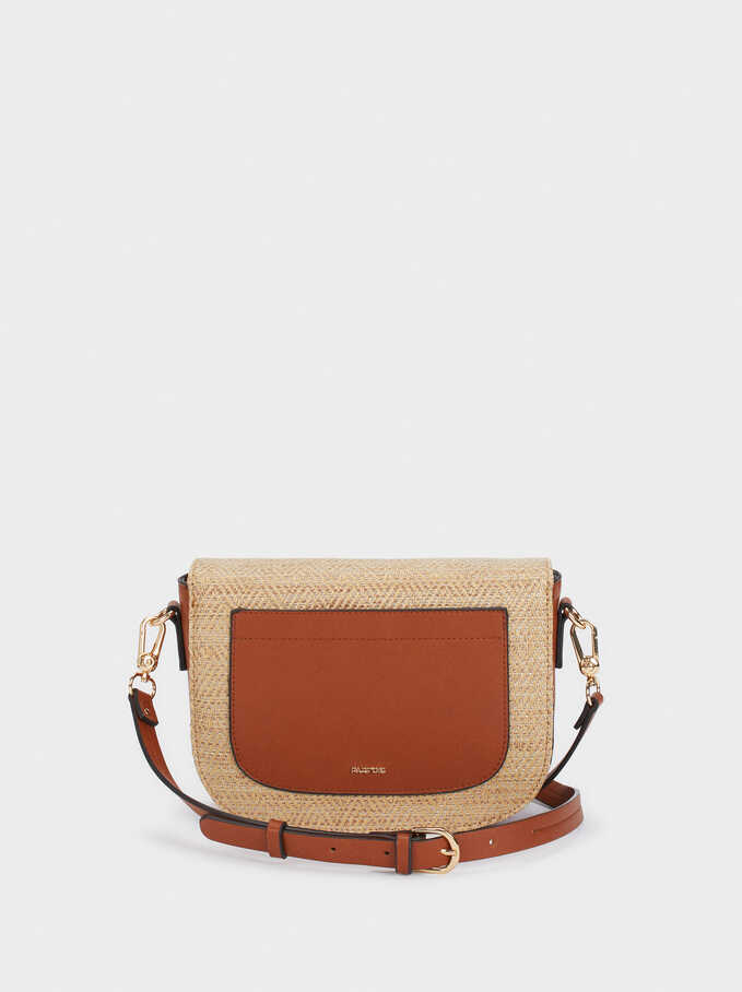 Straw Finish Crossbody Bag, Camel, hi-res