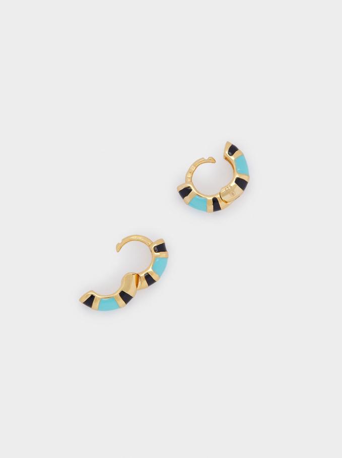 925 Sterling Silver Small Hoop Earrings, Multicolor, hi-res
