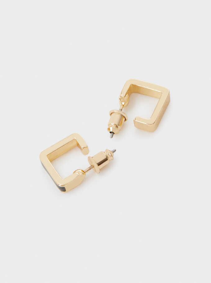 Small Enamel Hoop Earrings, Green, hi-res