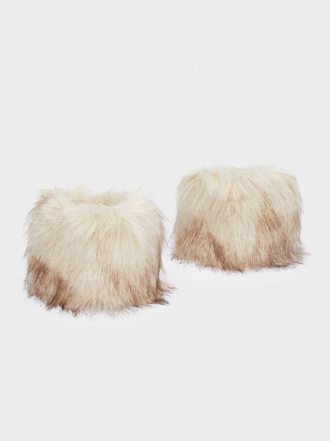 Faux Fur Cuffs, Beige, hi-res