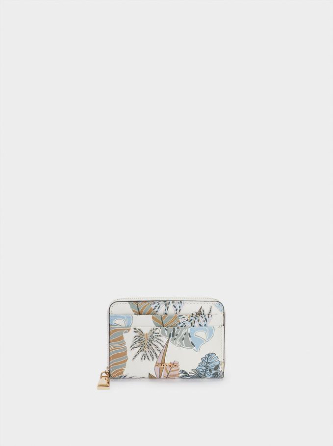 Compact Leaf Print Wallet, Ecru, hi-res