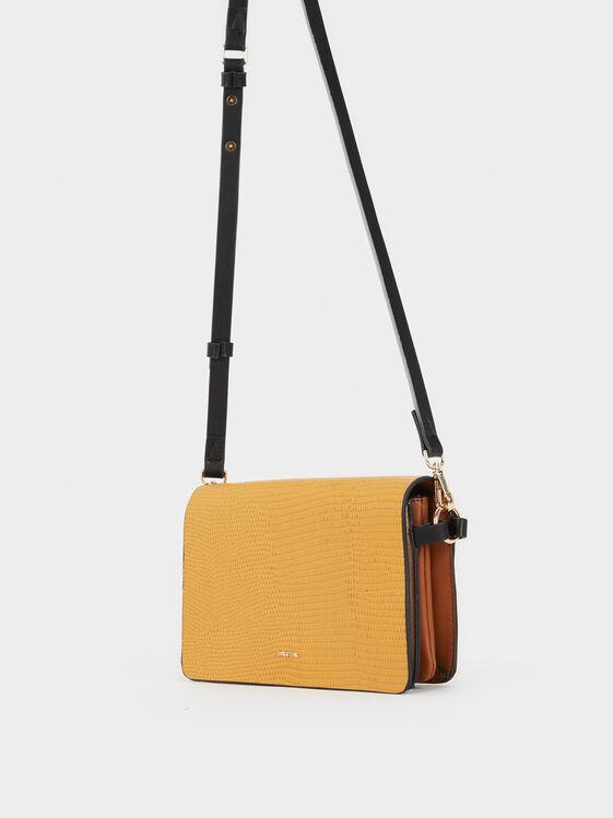 Embossed Faux Leather Crossbody Bag, Camel, hi-res
